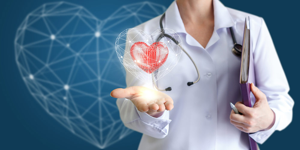 Female medical provider in white coat and stethoscope against blue backdrop holding hand out to hovering heart-shaped animation