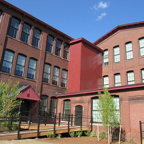 Converted brick mill factory Franklin Mill residential condominium housing development
