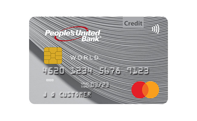 Front image of People's United Bank World Real Rewards Mastercard