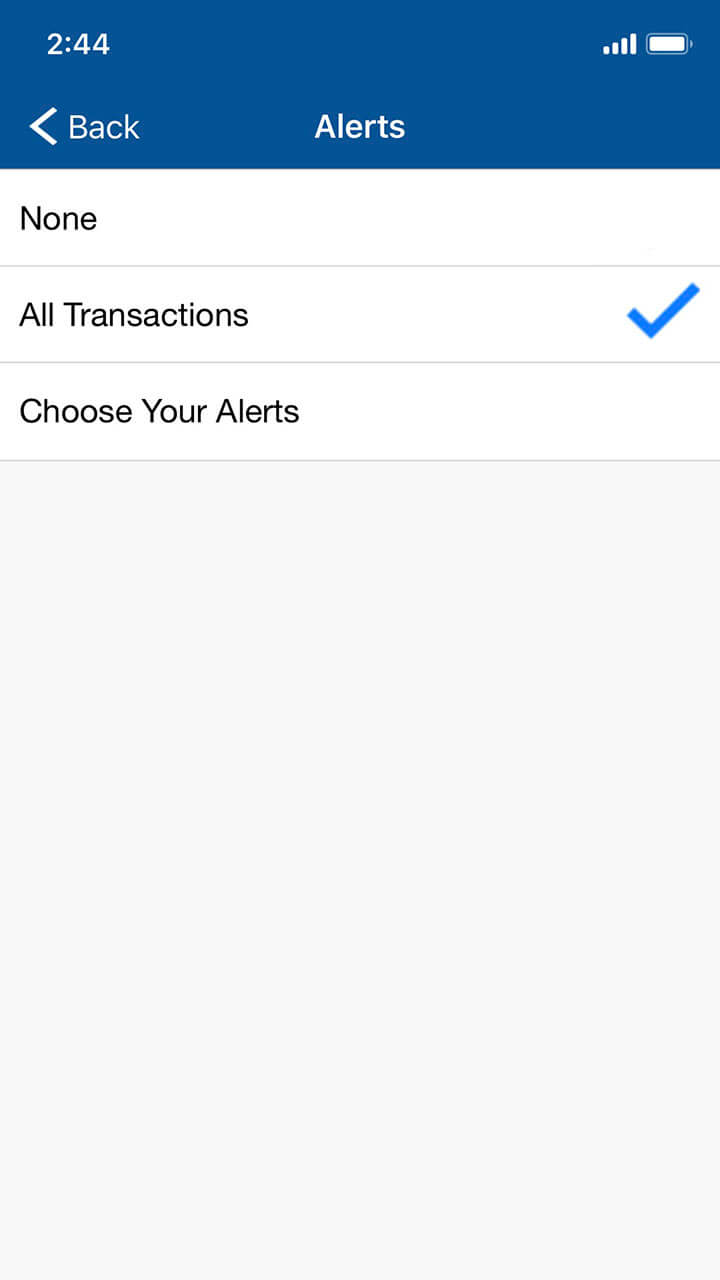 Mobile banking screen showing alert options, with ability to choose which to receive