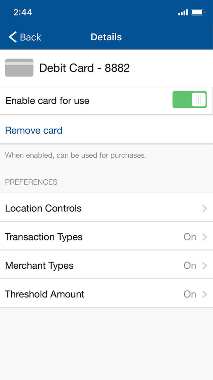 Mobile banking screen showing all debit card control options