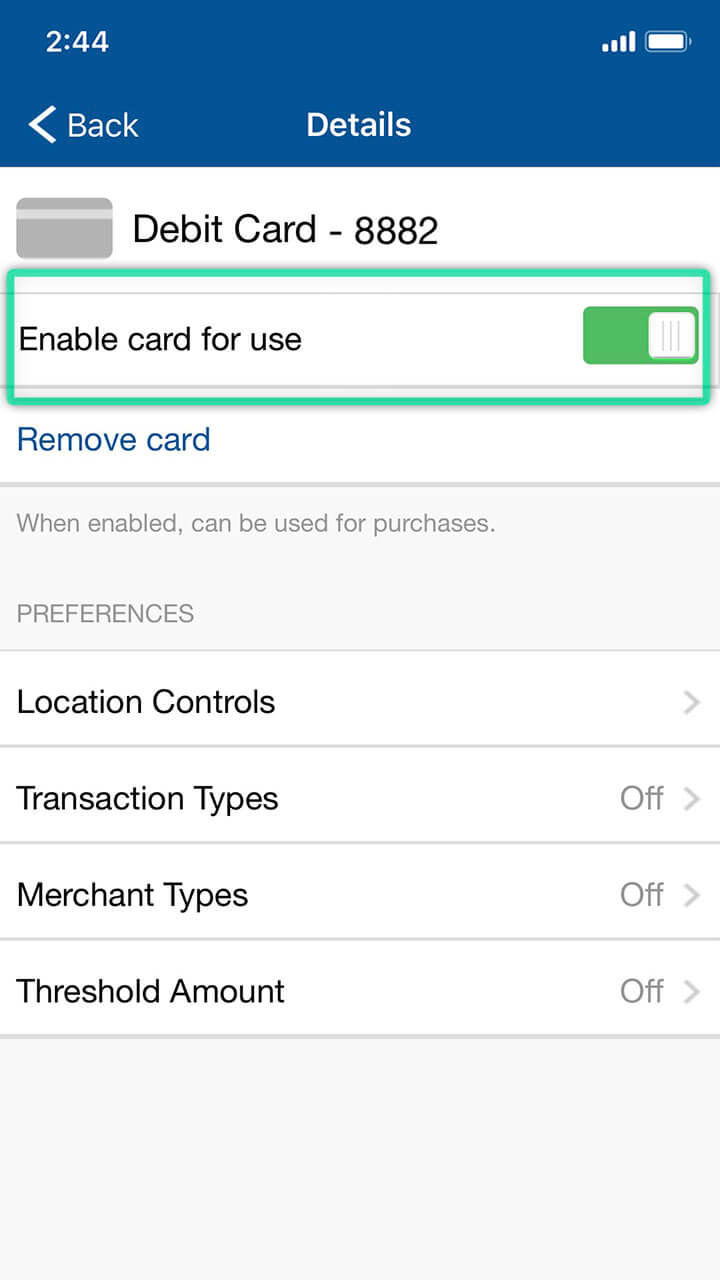 Mobile banking screen highlighting option to enable and disable debit card for purchases