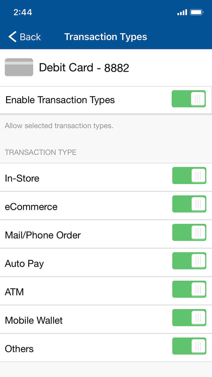 Mobile banking screen showing options to control debit card usage based on transaction types