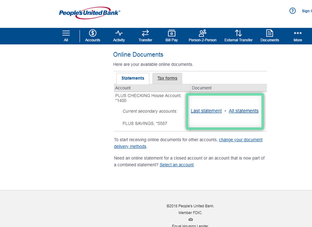 Online Banking screen highlighting location to view statements