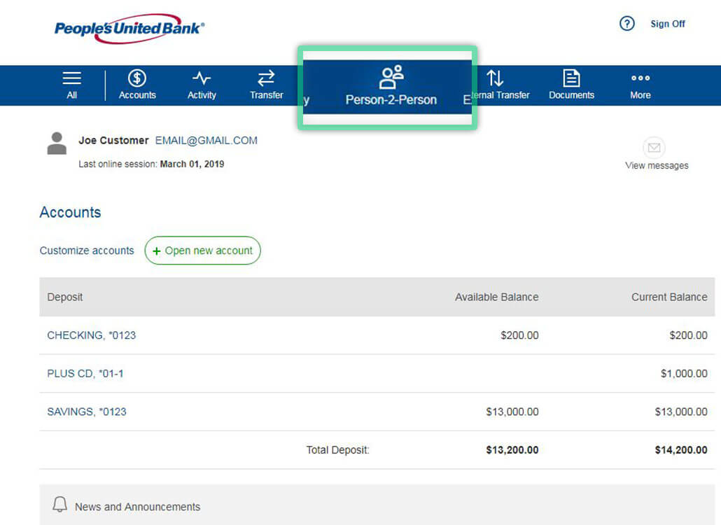 Online banking screen highlighting location to create or manage Person-2-Person payments