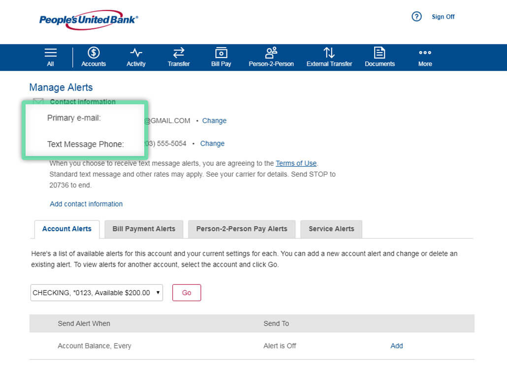 Online banking screen highlighting location to set your contact information for receiving account alerts