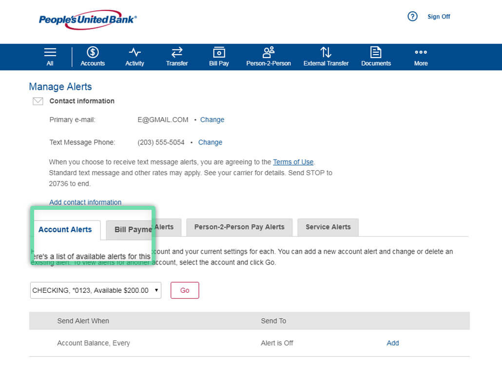 Online banking screen highlighting location to set Account Alerts