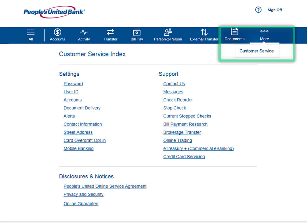 Online Banking screen highlighting location to find Customer Service contact information