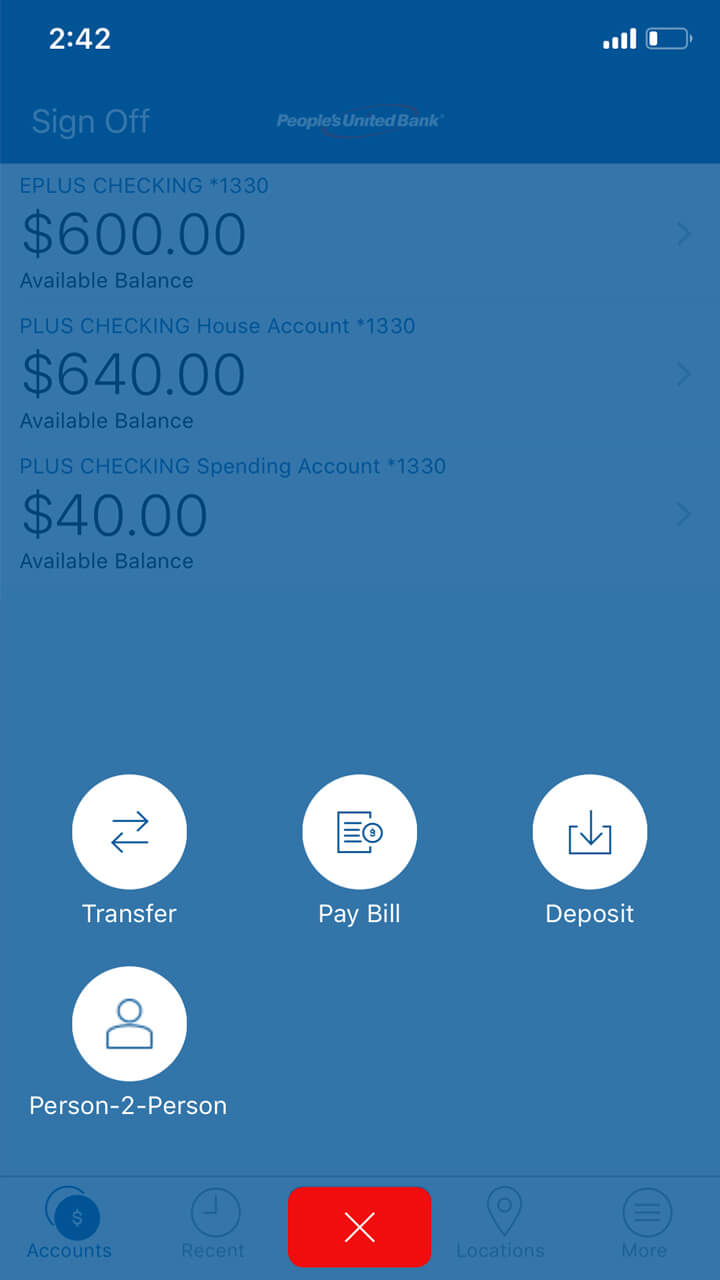 Mobile banking screen showing various options for moving or transfering funds