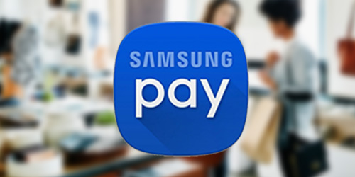 Samsung Pay logo on top of a blurred background image showing a customer at a retail checkout counter