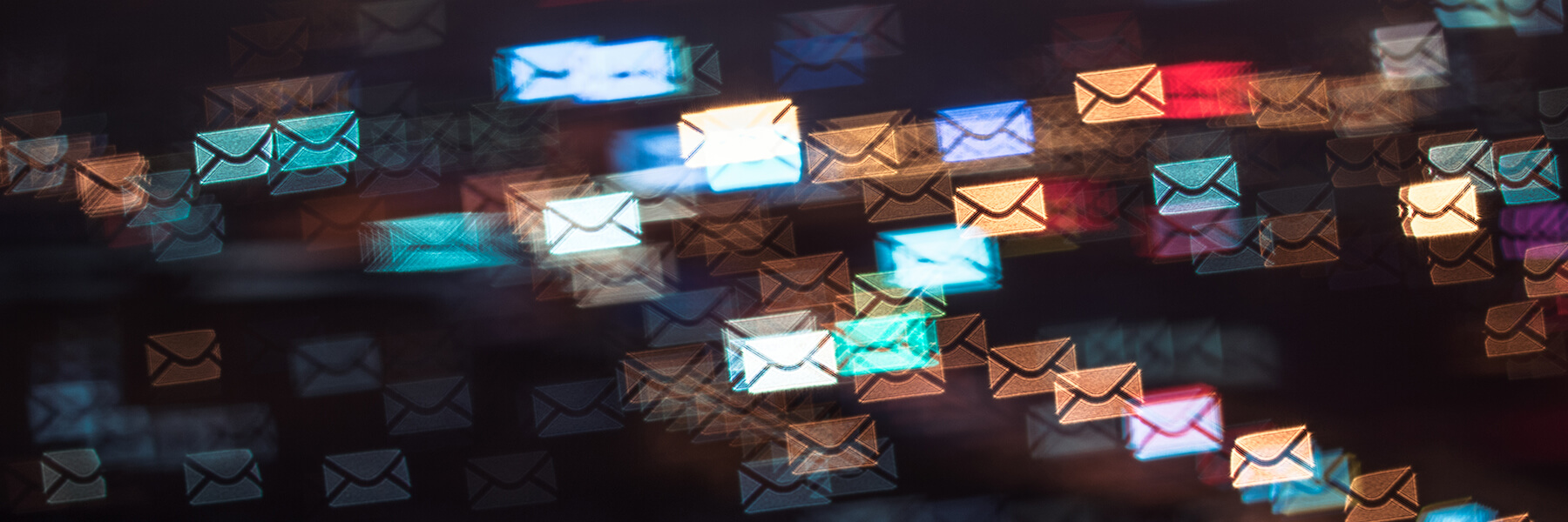 Abstract concept of colorful email icons rushing in the dark to reach their destination inbox